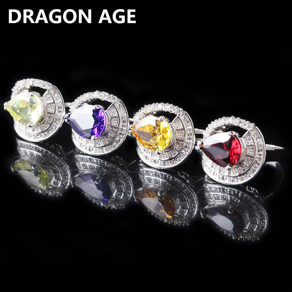 Silver plated Rings Purple Red Ellipse Crystal Zircon For Woman High Quantity Romantic Fine Jewelry Party Gift Charms Noble Ring