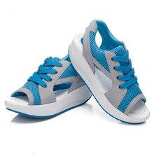 Women Wedges Shoes For Women Air Mesh Casual Shoes Flat Shoes Slip On Open Toe Women Sandals Sapato Feminino