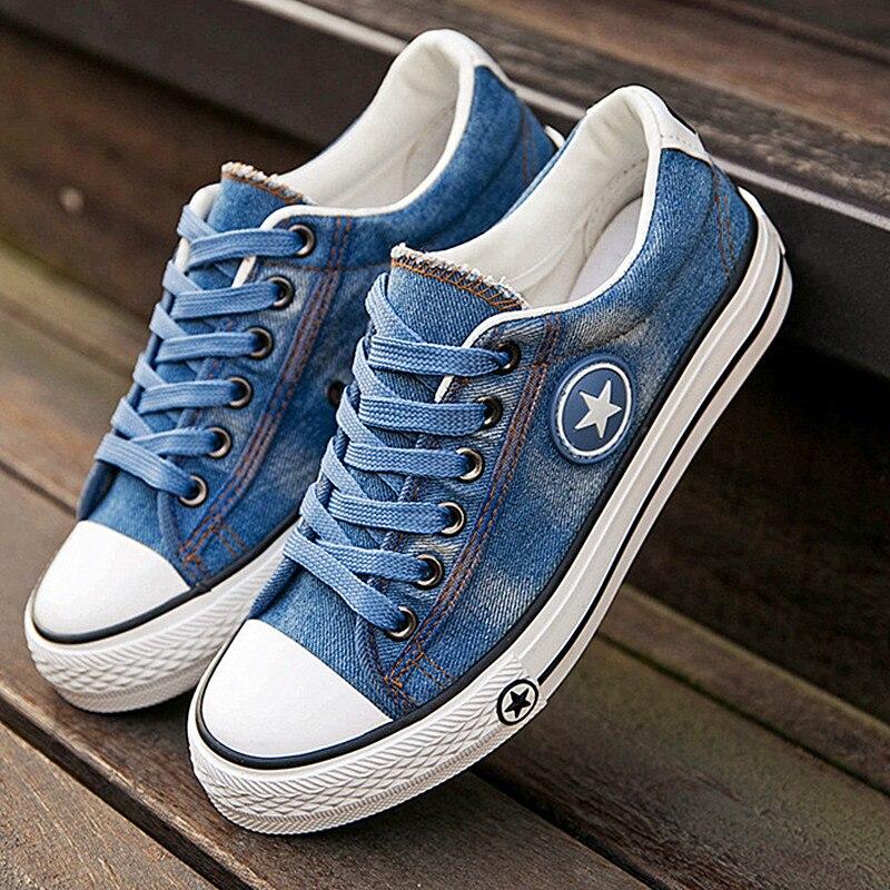De las mujeres de la moda Zapatillas Denim Casual zapatos de mujer zapatos de verano zapatos de lona zapatos de zapatillas de encaje de señoras de la mujer estrellas tenis Femenino
