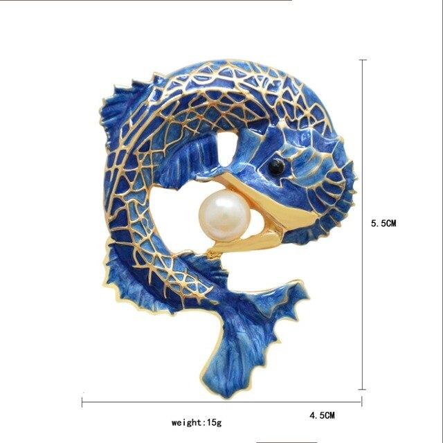 Женская Брошь caizi в виде синего дракона с искусственным жемчугом