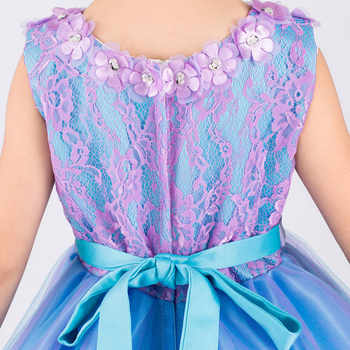 Rhinestone Appliques Floral Princess Flower Little Girl Dresses for Wedding Kids Baby Party Pageant Dress With Long Train Glitz