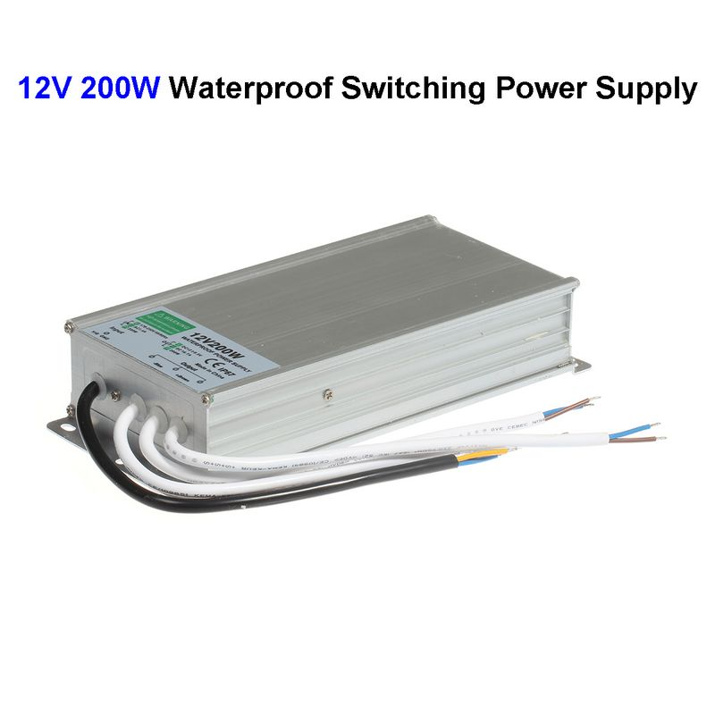 DC12V 200W Waterproof Switching Power Supply Adapter Transformer For 5050 5730 5630 3528 LED Rigid Strip Light hot 12v 50a 600w 100 264v electronic transformer high quality safy led current driver for led strip 3528 5050 power supply