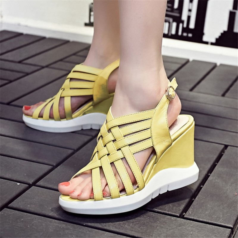 Plus Size 34-42 Woman Genuine Leather Platform High Heels Sandals for Women Gladiator Wedges Ladies Summer Shoes Free Shipping phyanic 2017 gladiator sandals gold silver shoes woman summer platform wedges glitters creepers casual women shoes phy3323