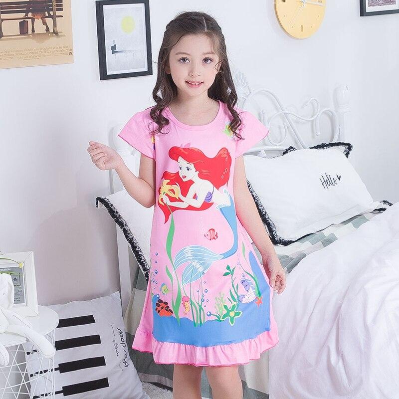 Große Mädchen Nachthemden 2019 Neue Kurzarm Kinder Cartoon Nachtwäsche Kind Prinzessin Kleid Weihnachten Geschenk Kinder Kleider Für Mädchen