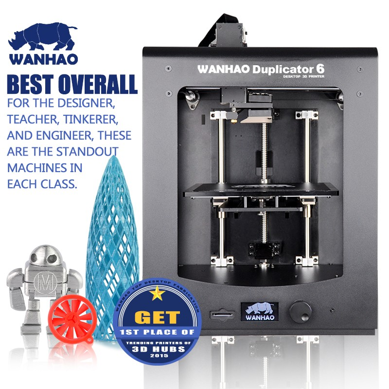 2017WANHAO Newest Version 3D Printer D6,with Aluminium Extrusion.45 degree LCD display,SD Card 8GB,2 Rolls Filaments as gift lcd display diy 3d printer with one roll filament sd card lcd masking tape for free