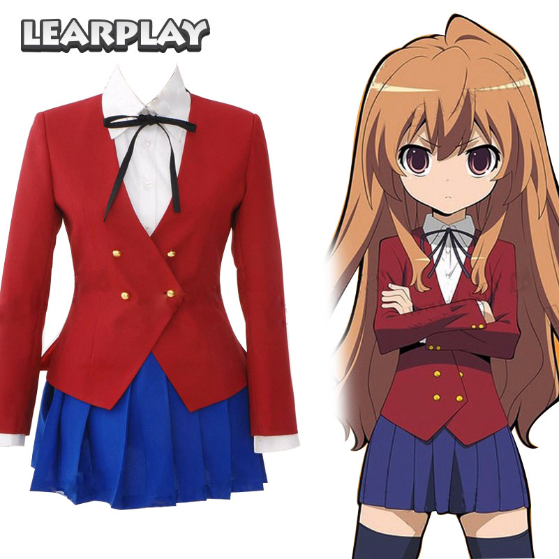 Tigre DRAGON Toradora Taiga Aisaka Cosplay Costumes filles uniforme scolaire femmes robe veste rouge + chemise blanche + jupe bleue ensemble complet