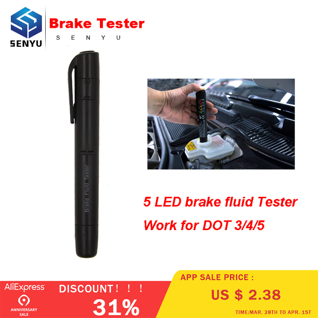MINI Brake Fluid Tester Pen Universal Detector For DOT3/DOT4/DOT5 Automotive Testing 5 LED Car Diagnostic indicator Pen car test