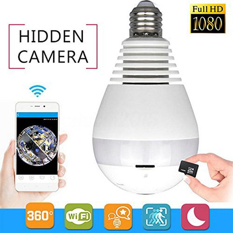 Bulb Light Wireless IP Camera Wi-fi FishEye 1080P 360 degree Mini CCTV VR Camera 2.0MP Home Security V380 WiFi Camera Panoramic