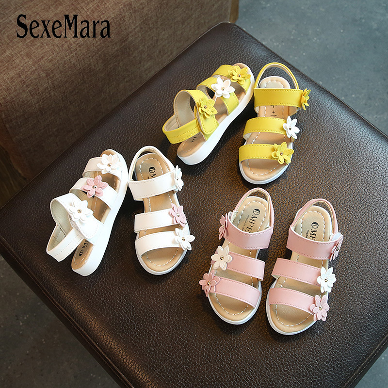 Girls Sandals Princess Shoes B03061 Casual Toddler Infant Baby Kids Sandals For A Girl Floral Beach Shoes Flowers Baby Walkers