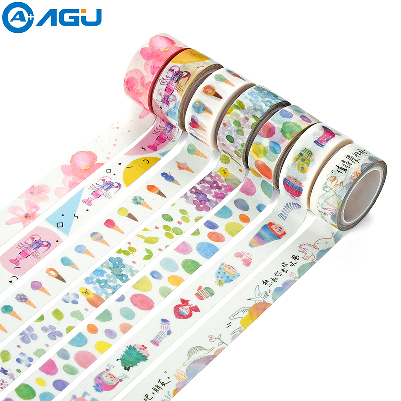 AAGU 1PC 15mm*5m New AArrival Ice Cream Bird Flower Various Design Decorative Washi Tape Hand Tear Adhesive Paper Masking Tape