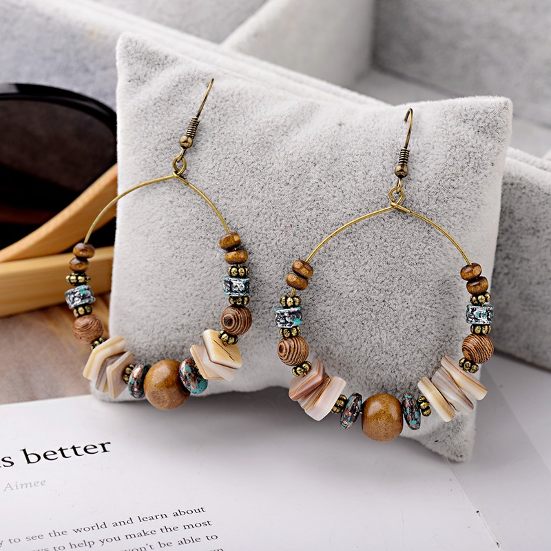 DOUVEI 2019 Ethnic Bohemia Women's Gypsy Big Round Bronze Wood Beads Drop Earrings Vintage Boho Style For Female HQE741