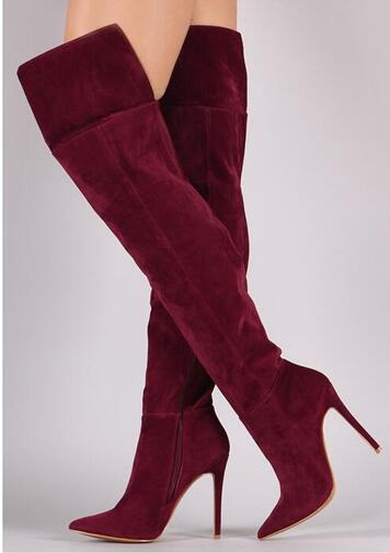 Spring newest thin heels boots new fashion pointed toe high heel boots wine red stretch fabric over the knee woman boots new 2018 spring wine red pink velvet upper women long boots over the knee sexy pointed toe high thin heel boots shoes lady