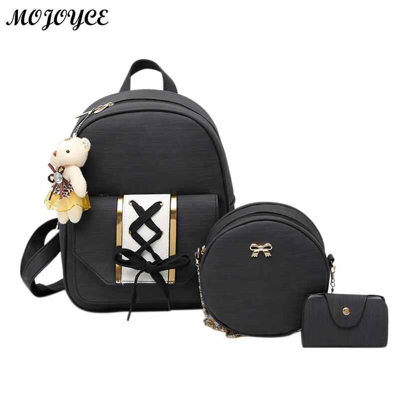 New Backpack Set Mochila Women Backpack PU Leather Backpack for Girls Female School Shoulder Bag Vintage 3Pcs/Set Bagpack