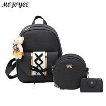 New Backpack Set Mochila Women Backpack PU Leather Backpack for Girls Female School Shoulder Bag Vintage 3Pcs/Set Bagpack