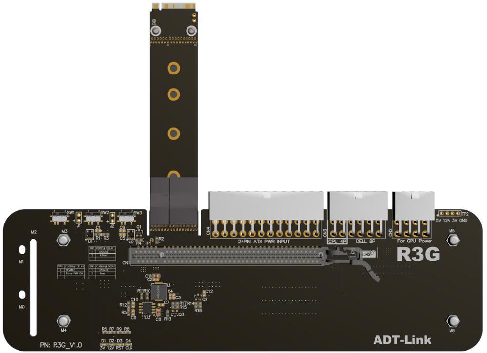 M.2 NVMe carte graphique externe M support de support de clé avec PCIe3.0 x4 câble de montée 25 cm 50 cm 32Gbs pour ITX STX NUC VEGA64 GTX1080ti