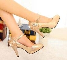 Elegante High Heel Straps Einzel Schuhe Hochzeit Schuhe Pumps Gold Farbe Frühjahr Neue Ankunft Dame Sexy Formelle kleidung Schuhe frau