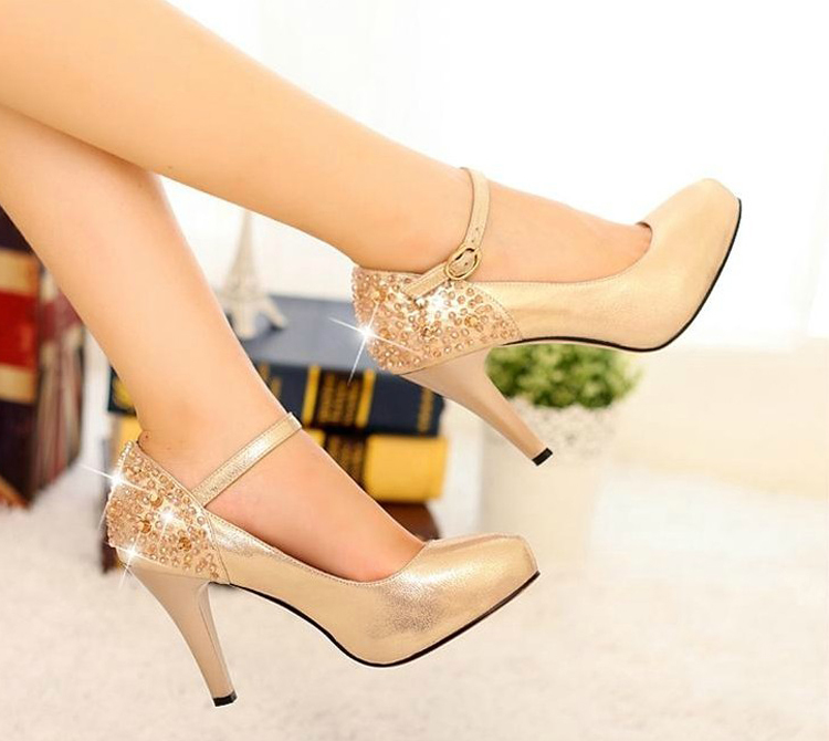 ФОТО Gold Color Spring New Arrival Lady Sexy Formal Dress Shoes Woman Elegant High Heel Straps Single Shoes Wedding Party Shoes Pumps