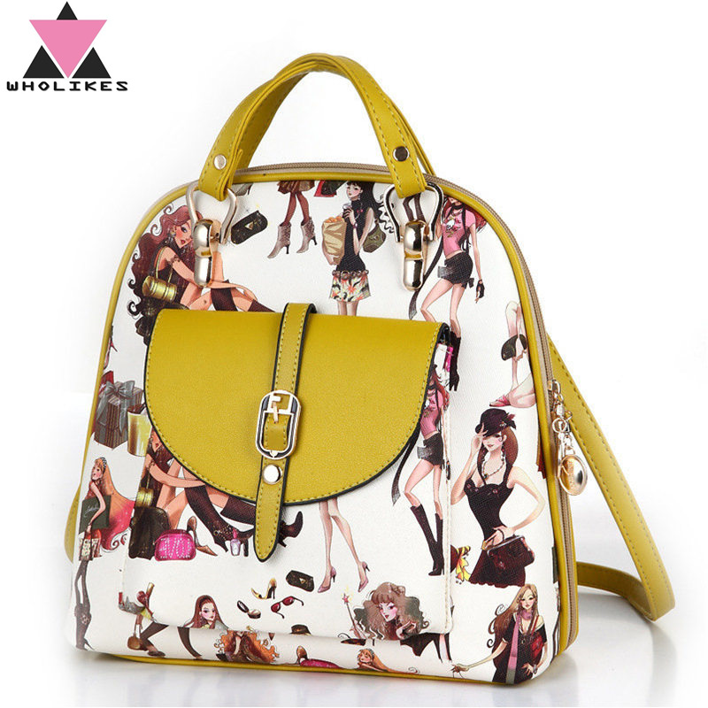Wholikes Brand Fashion Flowers Women Leather Backpack Multifunction Zipper College Wind Student Backpack for Teenage Girls