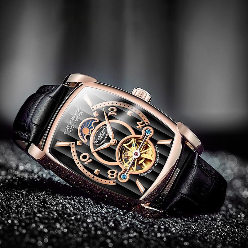 2018 GUANQIN relojes para hombre marca de lujo reloj mecánico automático de cuero casuales zafiro resistente al agua analógico reloj de pulsera para hombres