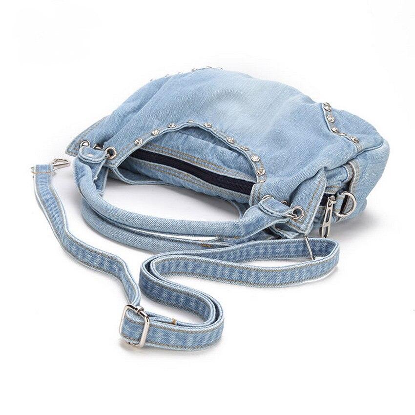 KISS KAREN Fashion Diamond Studs Denim Bag տիկնայք - Պայուսակներ - Լուսանկար 5