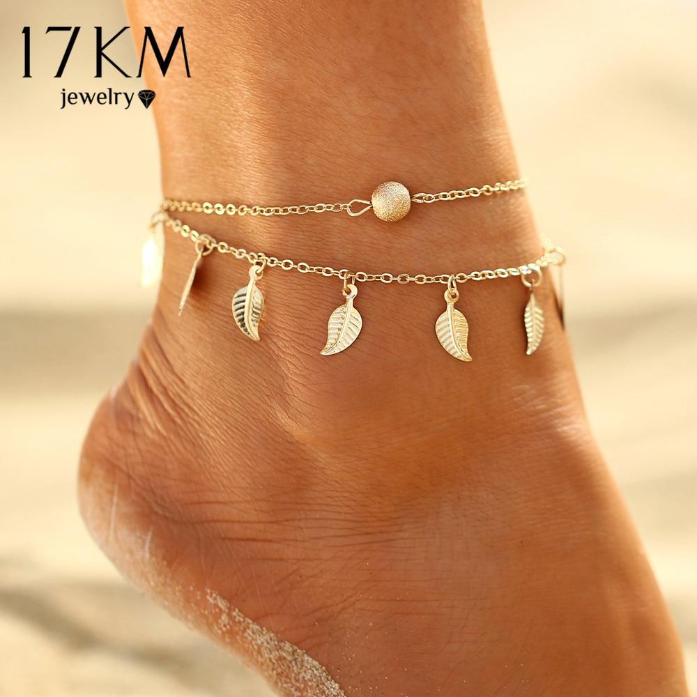 17 Km Sommer Strand 2 Farbe Doppel Blätter Anhänger Fußkettchen Fuß Kette Bohemian Handmade Perlen Fußkettchen Fuß Gothic Boho Schmuck GroßEr Ausverkauf