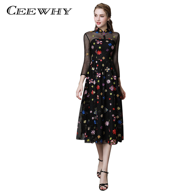 CEEWHY Floral Embroidery Formal Prom Dress Black Evening Dresses Tea-length  Abiye Vestido de Noche Vintage Evening Dress 972519353c10