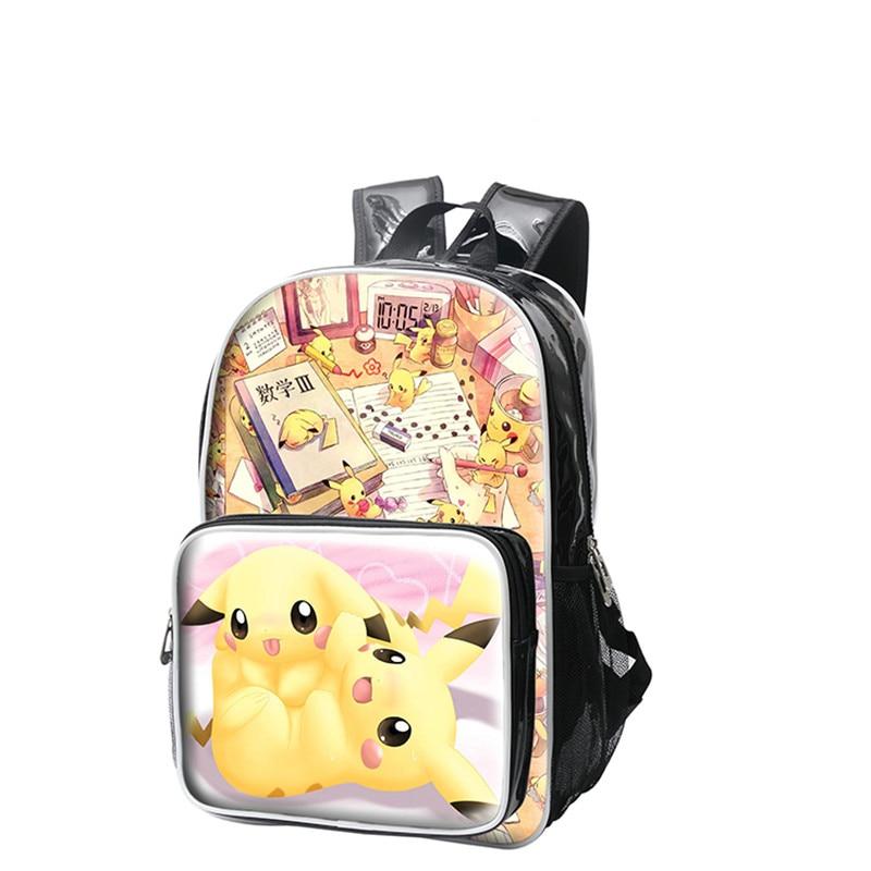 High Quality Anime Pokemon Pikachu Backpacks 3D Print Shoulder Bags Cartoon PU Schoolbags Travel Mochila anime pokemon pikachu backpack pokemon computer backpacks school bags for teenager girls boys kawaii mochila feminina package