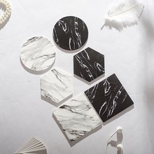 Chic Silicon Emulation Marble Coffee Coaster Cup Mats Pads Black White Flamingo Waterproof Desktop Non-slip Pad Table Decoration(China)