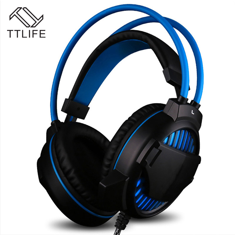TTLIFE Esport Gaming Headphone Stereo Bass Headset Headphone Earphone Over Ear 3.5mm Wired with Mic LED Light for PC Computer plextone g20 wired magnetic gaming headset in ear game earphone with mic stereo 2m bass earbuds computer earphone for pc phone