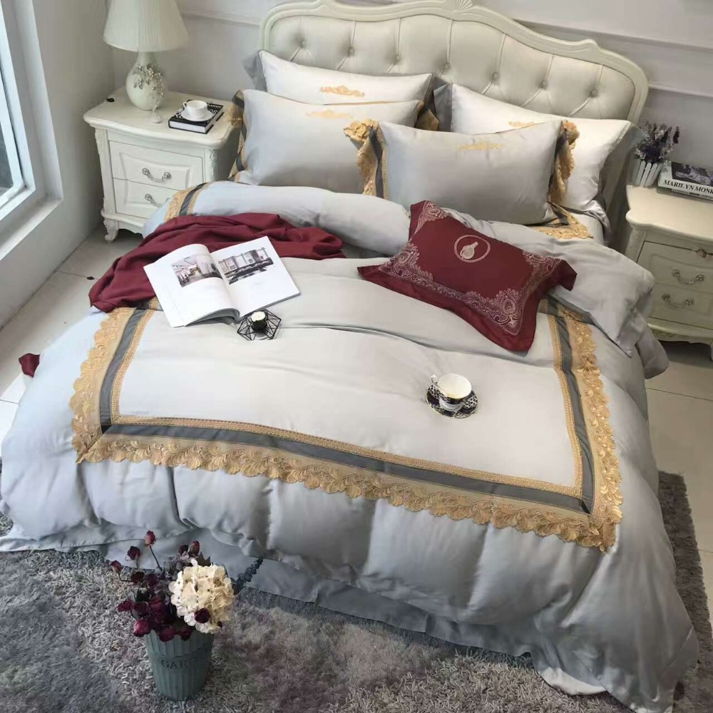 Red 4pcs Luxury 120S White Golden Lace Egyptian cotton Royal Bedding set Queen King Wedding Duvet cover Bed sheet set PillowcaseRed 4pcs Luxury 120S White Golden Lace Egyptian cotton Royal Bedding set Queen King Wedding Duvet cover Bed sheet set Pillowcase
