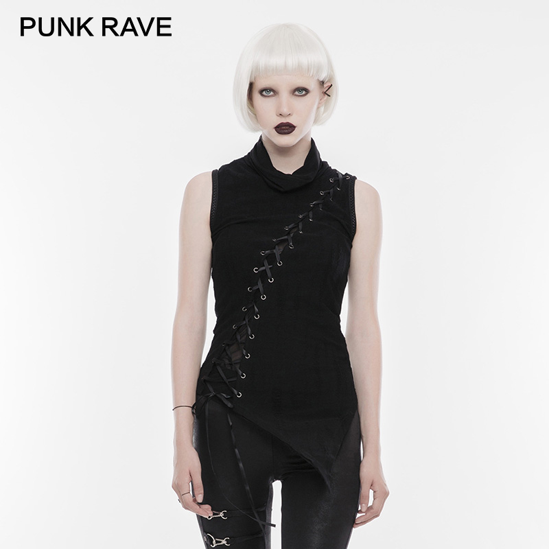 PUNK RAVE Punk Rock Darkness High Neck Ribbon Laced Women Sleeveless Long Vests Top Shoulder Broken