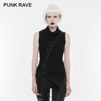 PUNK RAVE Punk Rock Darkness High Neck Ribbon Laced Women Sleeveless Long Vests Top Shoulder Broken Seam Draw String T shirt