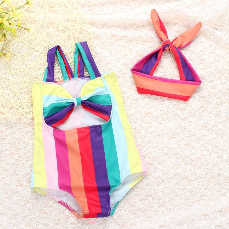 Swimsuit For Children Bathing Suit Girls Kids Swimming Junior 2018 New Summer Rainbow Bowknot Elastic Swim Animal Cotton Sierra