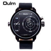Brand OULM 3221B Unique Design 2 Time Zone Watches Men Leather Band LED Diaplay Casual Quartz