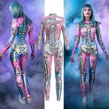 Pink Doodle Skull Skeleton Jumpsuit Catsuit Sexy Cosplay Costumes Halloween Women Bodysuit Fancy Dress