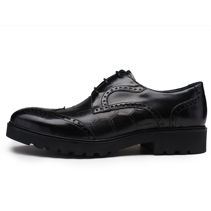 PJCMG New Men's Genuine Crocodile Pattern Leather Pointed Toe Thick soles Lace-Up Cowhide Dress Wedding Flat Oxford Men Shoes 6