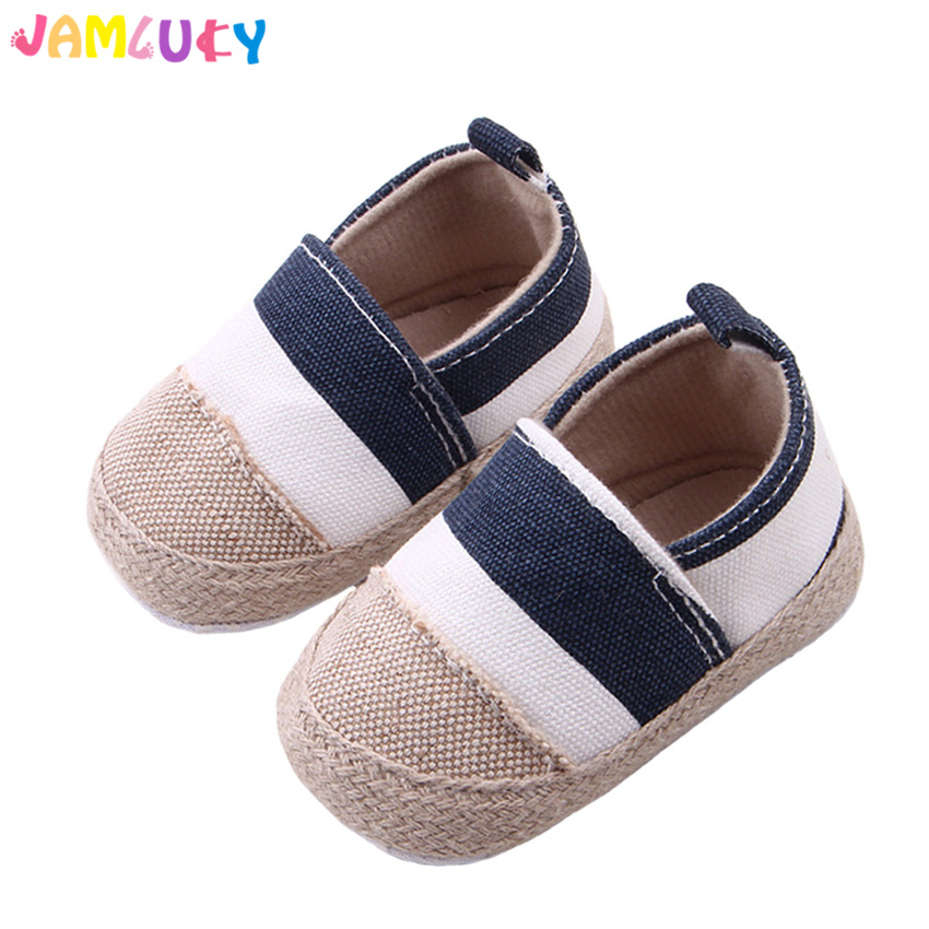 Hemp Baby Shoes Girls Striped Autumn Shallow Shoes Baby Boys Newborn Cotton Sole Moccasins Prewalker Baby Girls Shoes Blue&Red