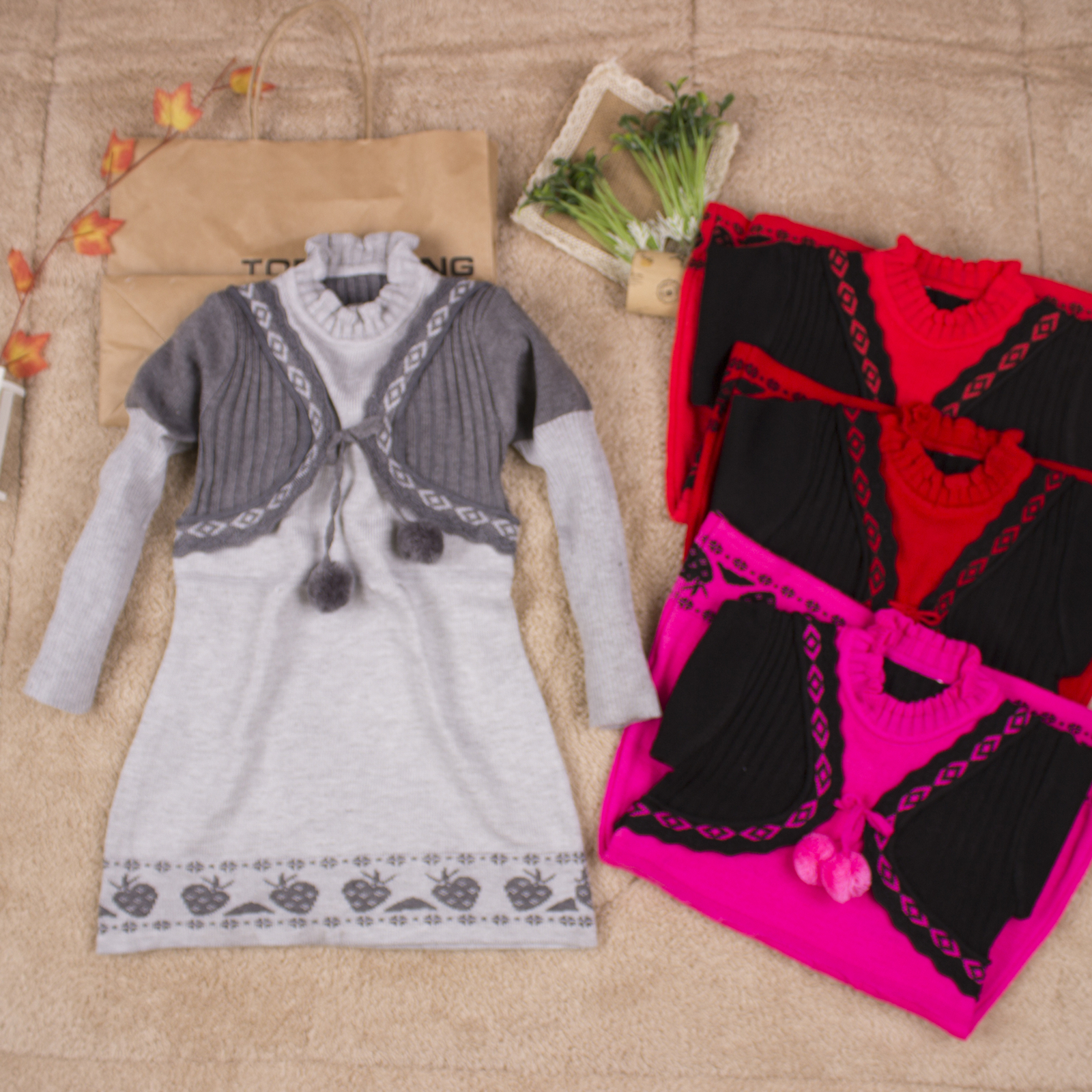 Russia style Girls Knitted Sweater Dress Long Sleeve Kids Princess Costumes Children Roupas Infantil ropa para ninas usb mame