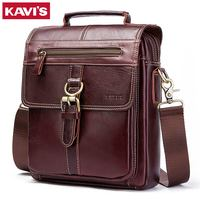 KAVIS 100% Genuine Leather Messenger Bags Men High Quality Handbag Bolsas Travel Brand Design Crossbody Shoulder Bag For Clutch