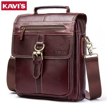 Find Deals KAVIS 100% Genuine Leather Messenger Bags Men High Quality  Handbag Bolsas Travel Brand Design Crossbody Shoulder Bag For Clutch 4412e5bcb8c9f