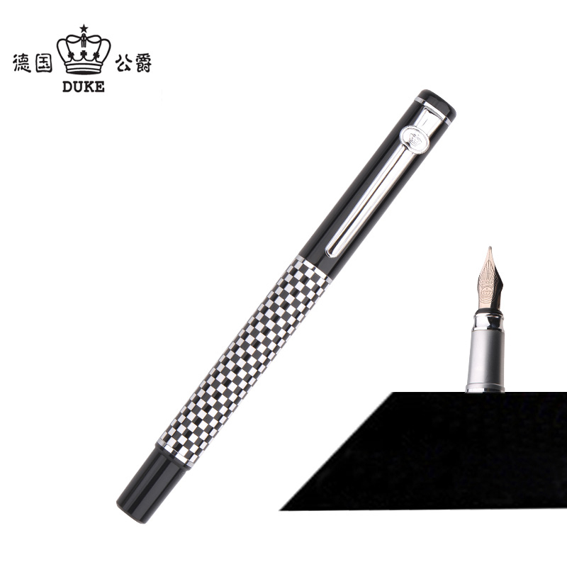 Duke 928 Classic Black and White Chessboard Metal Fountain Pen with 0.5mm Nib Inking Pens with Original Case Christmas Gift duke classic confucius bamboo 1 2mm curved tip iridium nib metal fountain pen with luxury original gift box ink pens for gift