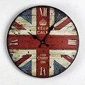 Envío libre 14 pulgadas estilo Británico de la bandera Británica pintada de madera maciza reloj de pared campana electrónica salón dormitorio decoración