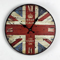 Free shipping 14inch British style British flag painted solid wood wall clock electronic bell living room bedroom decoration