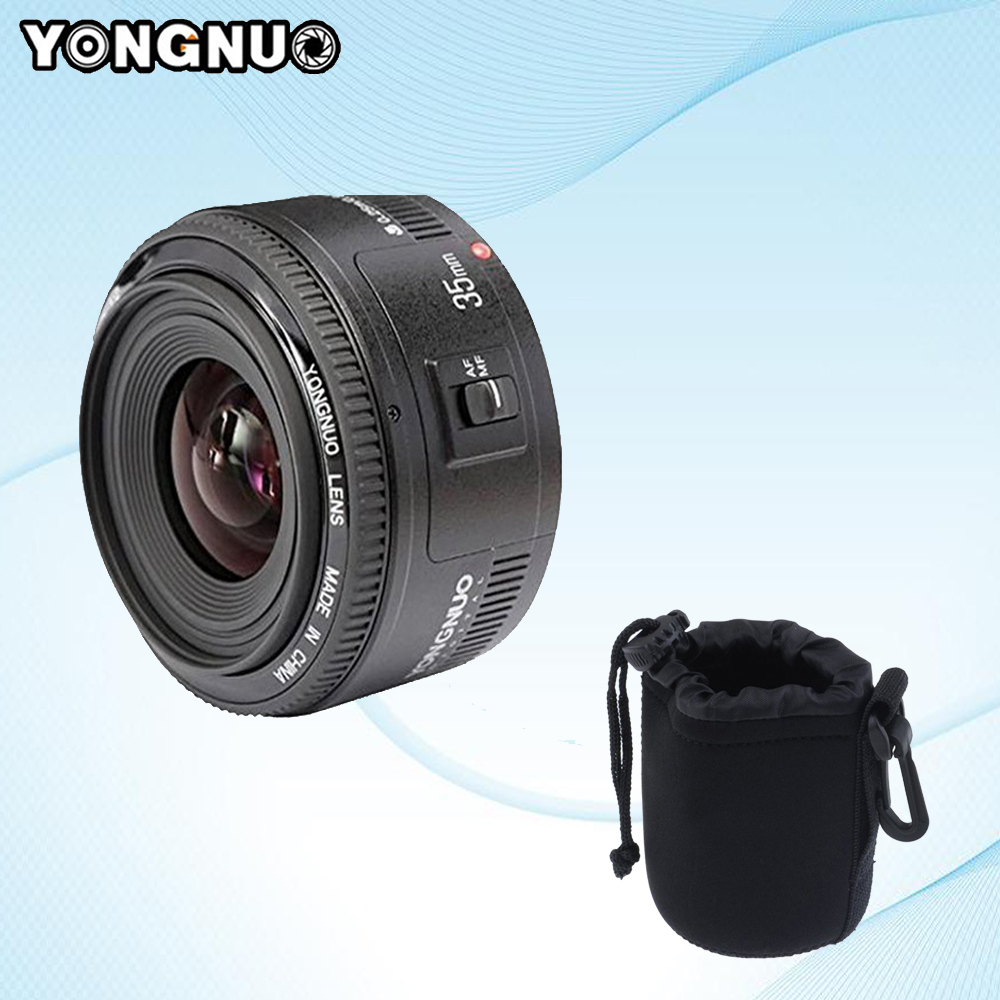 YONGNUO 35mm f2 Lens YN35mm Large Aperture Auto Focus Lens for Canon EOS 5D Mark III 450D 60D 7DII +Lens Protect Bag цена 2017