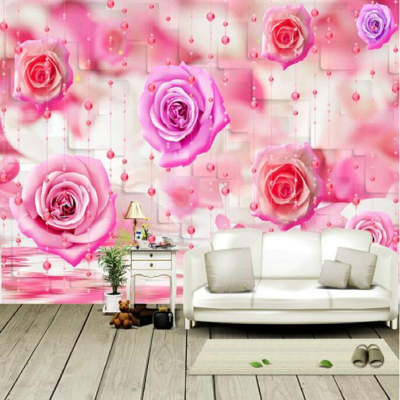 Rose bead curtain large mural 3D wallpaper living room bedroom 3D wallpaper painting TV background stereo 3D wallpaper
