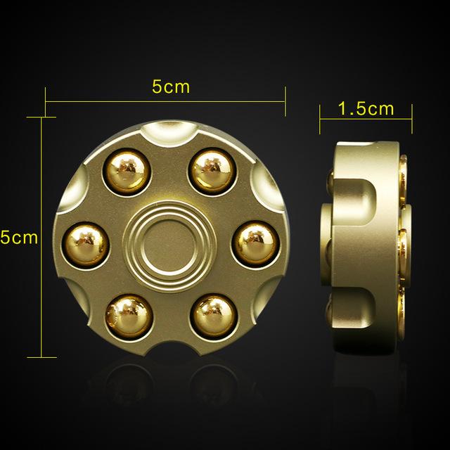 Brass Gun Revolver Bullet Fidget Spinner Stress Figet Spiner