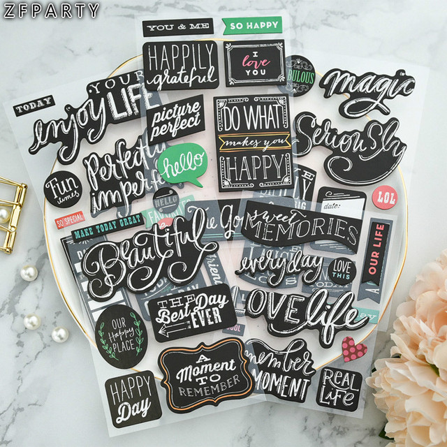 Zfparty sweet memories 3d die cut self adhesive stickers set for scrapbooking diy crafts