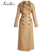 Kinikiss Women Trench Coat Winter Full Sleeve Long Length Solid Khaki Thin Peplum Lapel Patchwork High