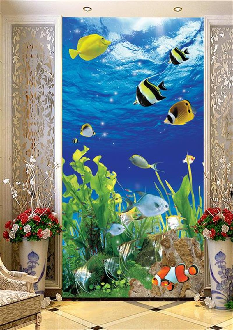 Fish tank painting - 3d Room Wallpaper Custom Non Woven Murals Tropical Fish Aquarium Plants Sofa Tv Background Wall