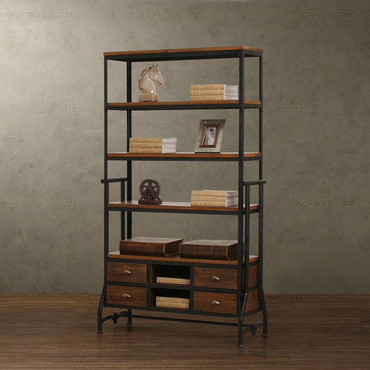 Iron Wood Bookcase Vintage American Country Creative Showcase Shelves Display Racks Storage Rack 151 In Luggage From Furniture On Aliexpress